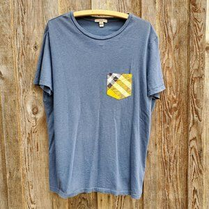 Burberry Brit Men's Check Plaid Pocket Blue Yellow T-Shirt